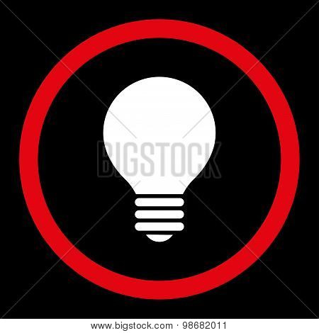 Electric Bulb flat red and white colors rounded raster icon