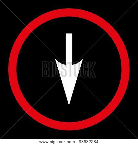 Sharp Down Arrow flat red and white colors rounded raster icon