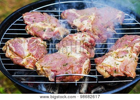 Meat Cooked Over Charcoal