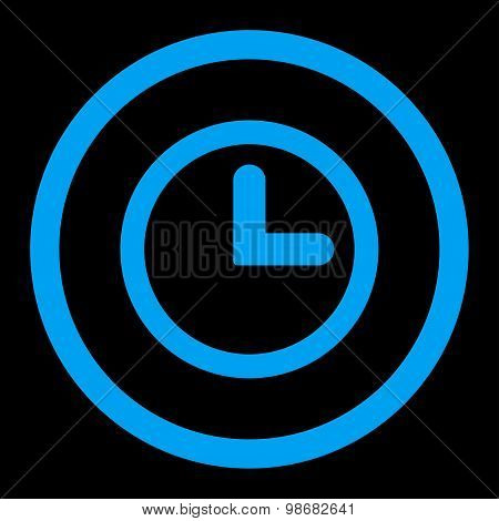 Clock flat blue color rounded raster icon