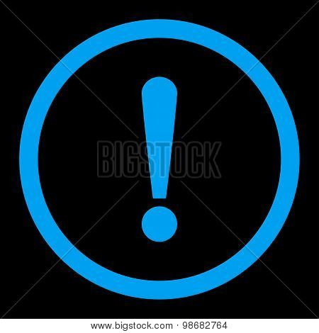 Exclamation Sign flat blue color rounded raster icon