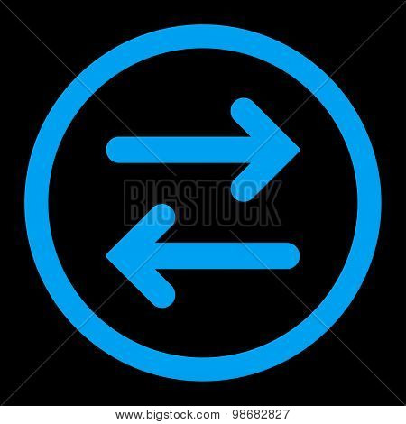 Flip Horizontal flat blue color rounded raster icon