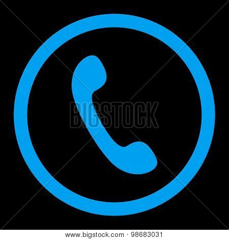 Phone flat blue color rounded raster icon