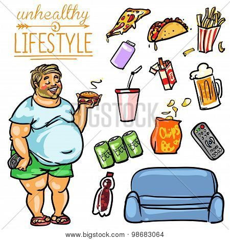 Unhealthy Lifestyle - Man