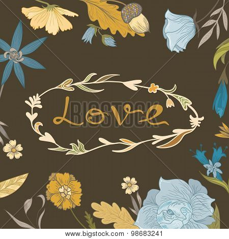 Autumn Floral Frame with Love Lettering