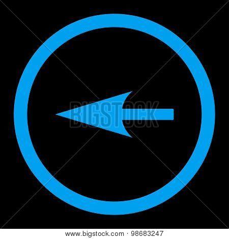 Sharp Left Arrow flat blue color rounded raster icon