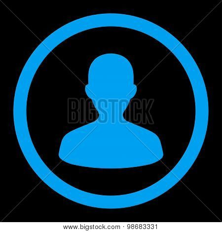 User flat blue color rounded raster icon