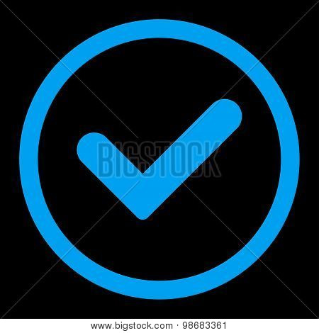 Yes flat blue color rounded raster icon