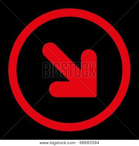 Arrow Down Right flat red color rounded raster icon