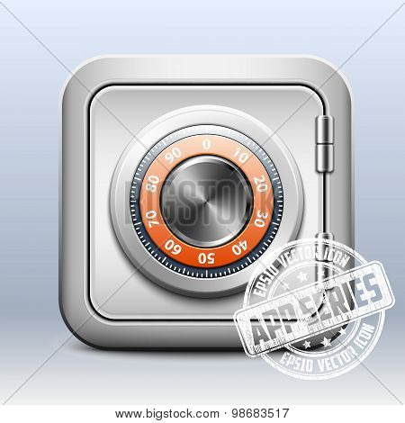 Metal Safe Icon With Combination Lock On White Background, App Series