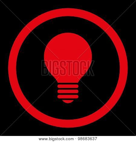 Electric Bulb flat red color rounded raster icon