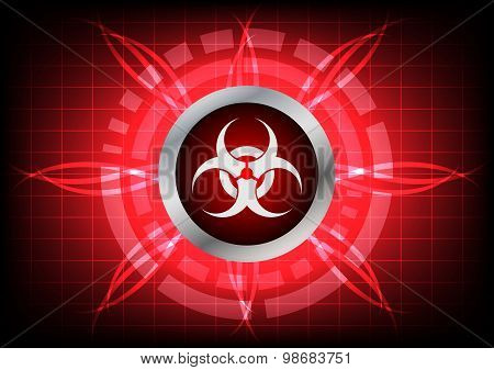 Modern Technology Biohazard  Button And Light Effect On Red Background
