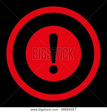 Problem flat red color rounded raster icon