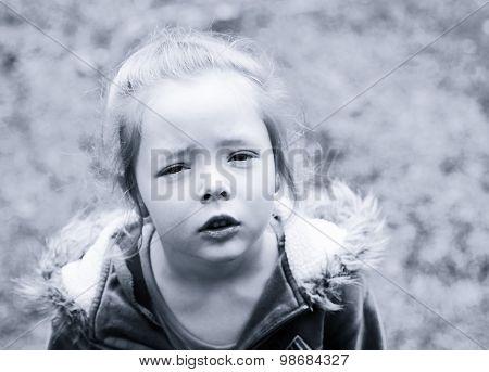 Portrait Of Sad Girl In Black And White