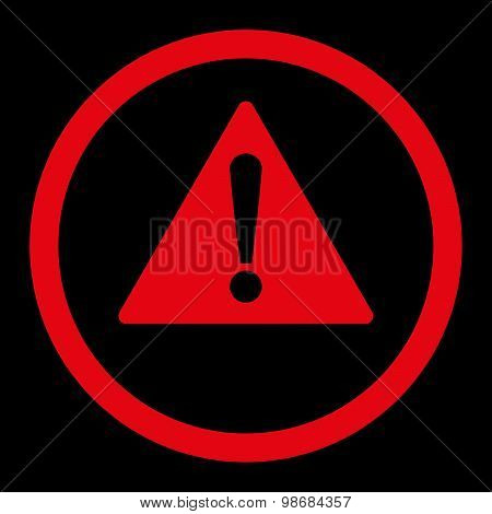 Warning flat red color rounded raster icon
