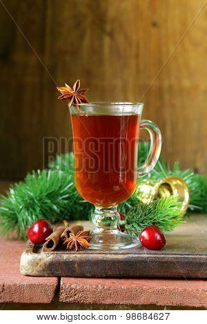 Christmas drink tea with cinnamon and star anise