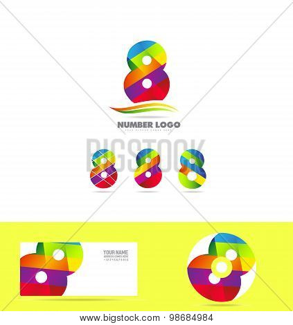 Number 8 Eight Logo Icon Set Business Corporate