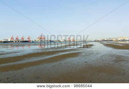 Harbor At Low Tide In Durban South Africa