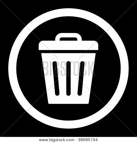 Trash Can flat white color rounded raster icon