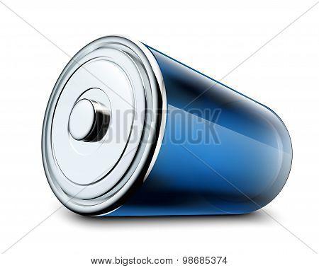 Illustration Of Glossy Battery On White Background