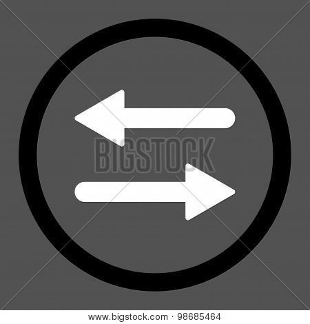 Arrows Exchange flat black and white colors rounded raster icon