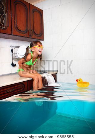 Child Girl Make Mess, Flooded Kitchen Imitating Swimming Pool, Funny Concept