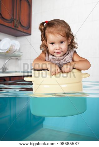 Funny Little Girl Swim In Pan In The Flooded Kitchen, Rowdy Creative Concept