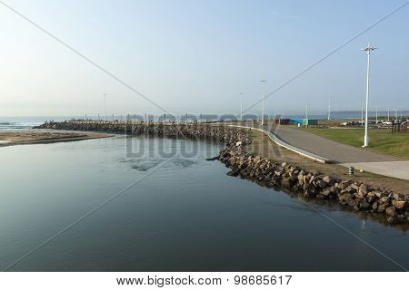 View Of Umgeni River Mouth Lined By Walkway
