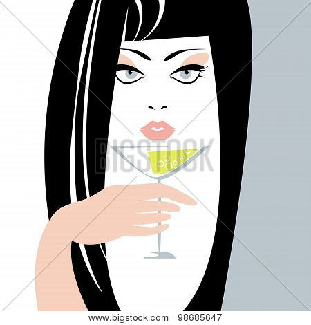 Woman With  A Glass In A Hand.