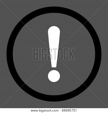 Exclamation Sign flat black and white colors rounded raster icon