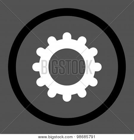 Gear flat black and white colors rounded raster icon