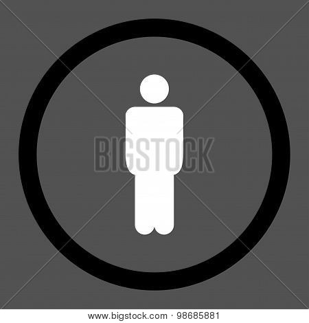 Man flat black and white colors rounded raster icon