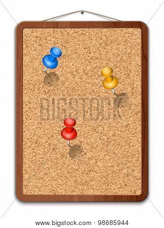 Blank Cork Board With Thumbtacks