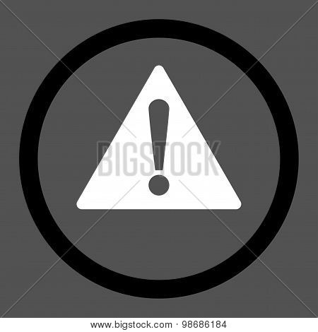 Warning flat black and white colors rounded raster icon