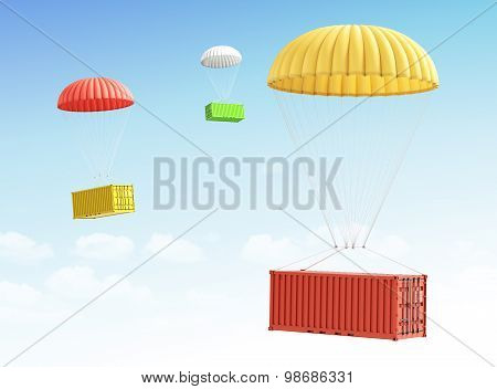 Concept Of Fast Shipment And Delivery Of Cargo. Containers Falling On The Parachute On A Sky Backgro