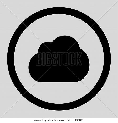 Cloud flat black color rounded raster icon