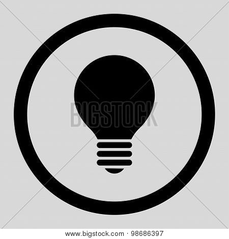 Electric Bulb flat black color rounded raster icon
