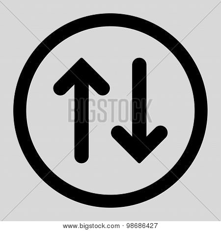 Flip flat black color rounded raster icon