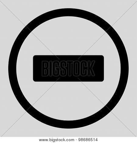 Minus flat black color rounded raster icon