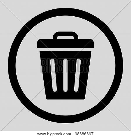 Trash Can flat black color rounded raster icon