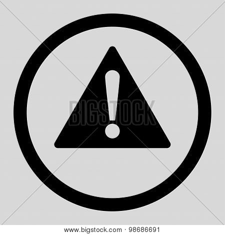 Warning flat black color rounded raster icon