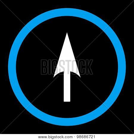 Arrow Axis Y flat blue and white colors rounded vector icon