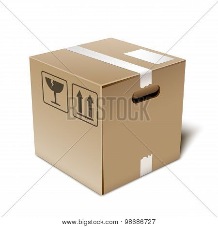 Cardboard Box Icon, Vector Illustration