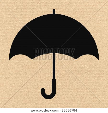 Keep Dry Packaging Symbol On Cardboard, Vector Illustration