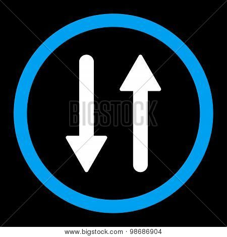 Arrows Exchange Vertical flat blue and white colors rounded vector icon