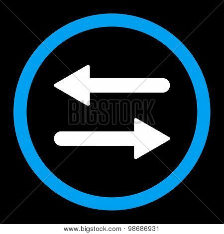 Arrows Exchange flat blue and white colors rounded vector icon