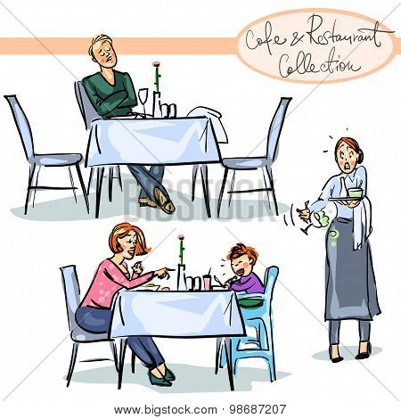 Cafe and Restaurant Collection - hand drawn scenes .