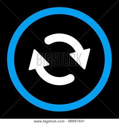Refresh flat blue and white colors rounded vector icon