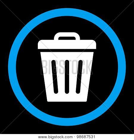Trash Can flat blue and white colors rounded vector icon