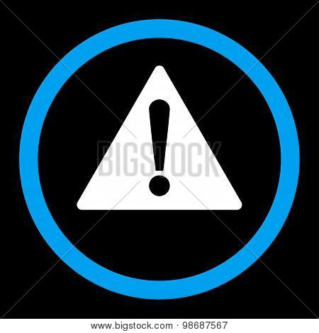 Warning flat blue and white colors rounded vector icon